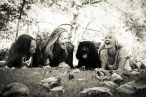 Laurie Hermann with daughters Seychelle and Bryton with Trystan {Portuguese Water Dog